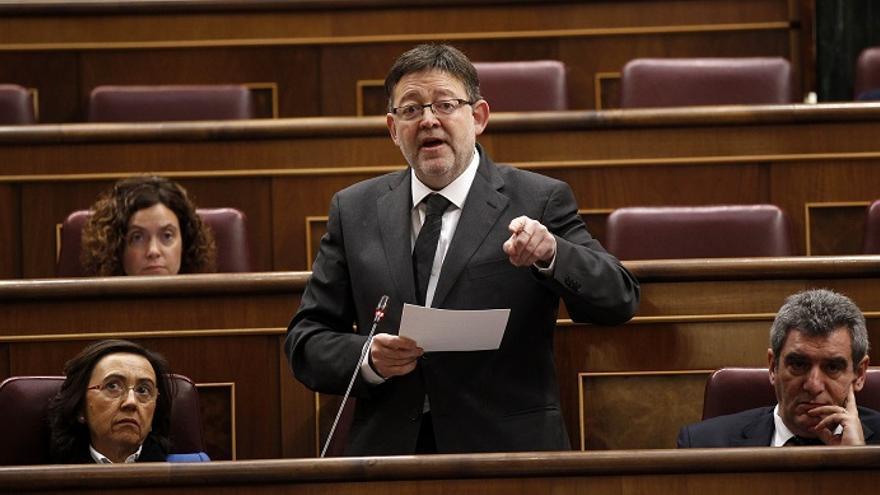 Ximo Puig, durante una intervención en el Congreso de los Diputados