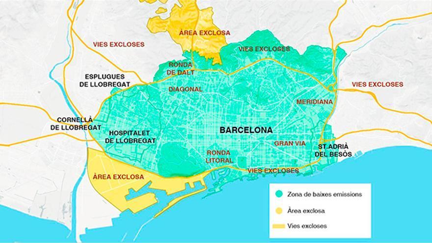 Mapa de la Zona de Baixes Emissions (ZBE).