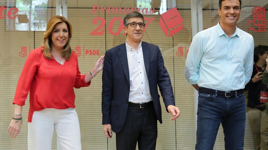 Susana Díaz, Patxi López y Pedro Sánchez, antes del debate