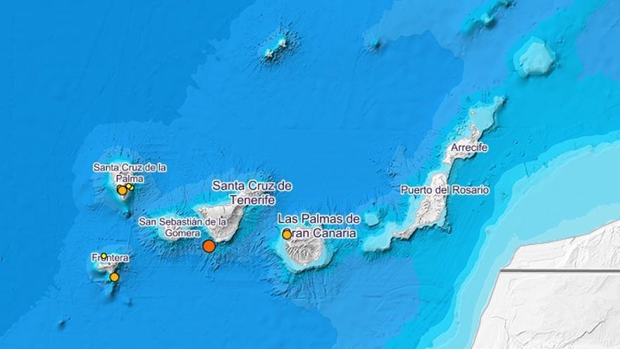 Movimientos sísmicos registrados en Canarias y detectados por el Instituto Geográfico Nacional