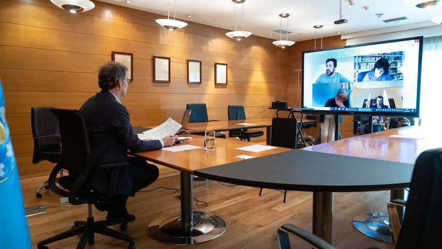 Reunión de Feijóo con los partidos gallegos el 19 de abril de 2020