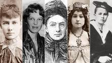 De izquierda a derecha: Nellie Bly, Amelia Earhart, Isabella Bird, Alexandra David-Neel y Isabelle Eberhardt.