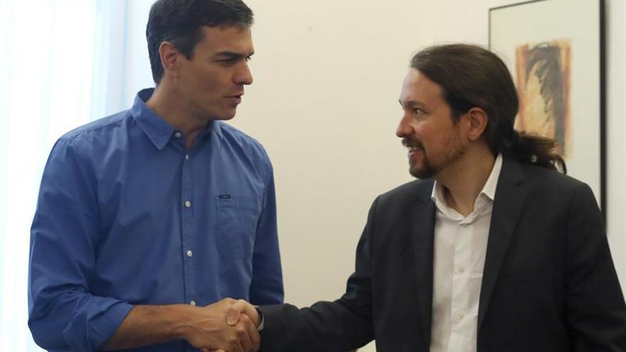Pedro Sánchez y Pablo Iglesias en su último encuentro.