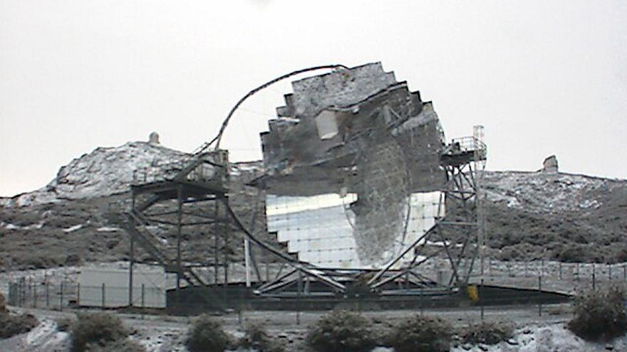 Imagen tomada en la mañana de este lunes de la webcam del telescopio Magic.