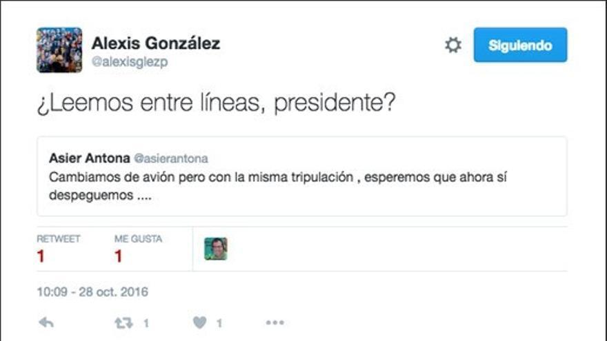 Twitter de Asier Antona comentado por el periodista Alexis González.
