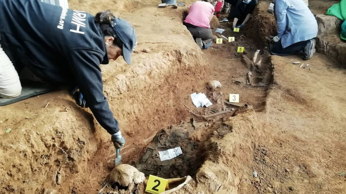 Trabajos de exhumación en Grado (Asturias)
