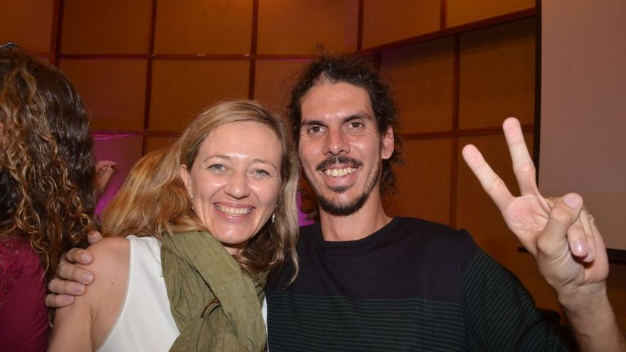 Los candidatos al Congreso por Santa Cruz de Tenerife y Las Palmas, Alberto Rodríguez y Victoria Rosell.