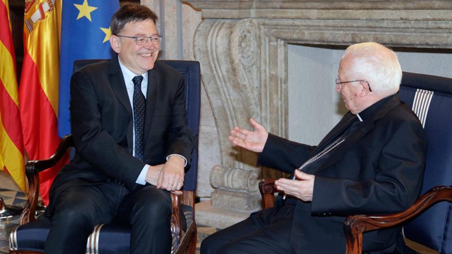 Ximo Puig y Antonio Cañizares en una reunión en el Palau de la Generalitat