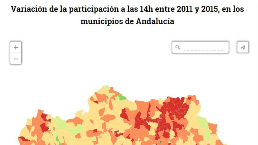 Variación de la participación a las 14h entre 2011 y 2015, en los municipios de Andalucía/ eldiario.es