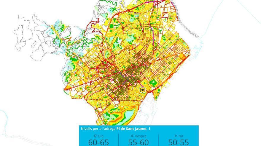 El mapa de ruido del Ayuntamiento permite calcular los niveles de contaminación acústica en todos los hogares. A la imagen, los valores de Sant Jaume