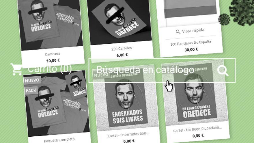 """El merchandising de """"Gobierno dimisión"""": foto robada y web que incumple las leyes de venta online"""