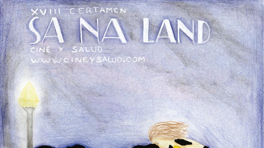 Cartel de la XVIII Muestra de Cine y Salud, obra de María Ballesteros Fernández (2º ESO) del Colegio Santa Ana de Huesca.
