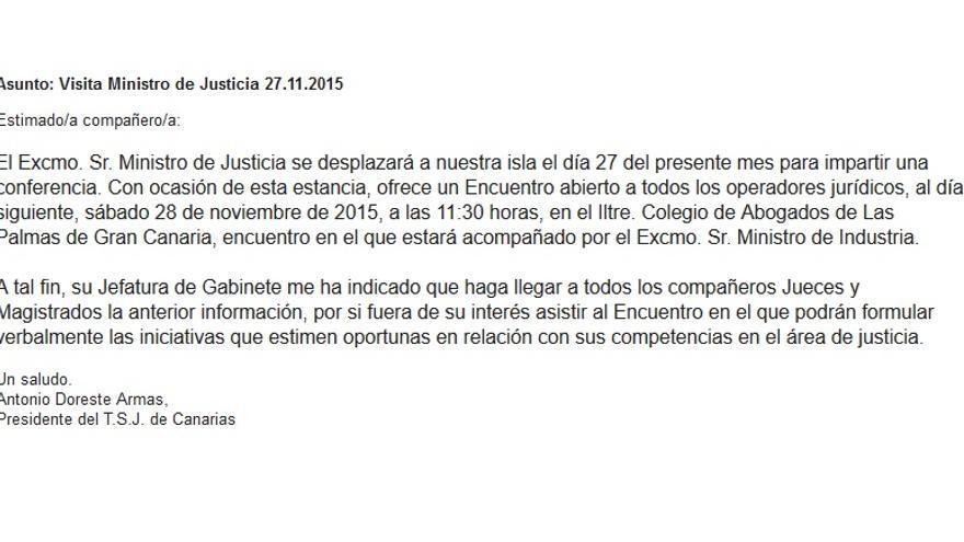 Invitación del presidente del Tribunal Superior de Justicia de Canarias (TSJC), Antonio Doreste.