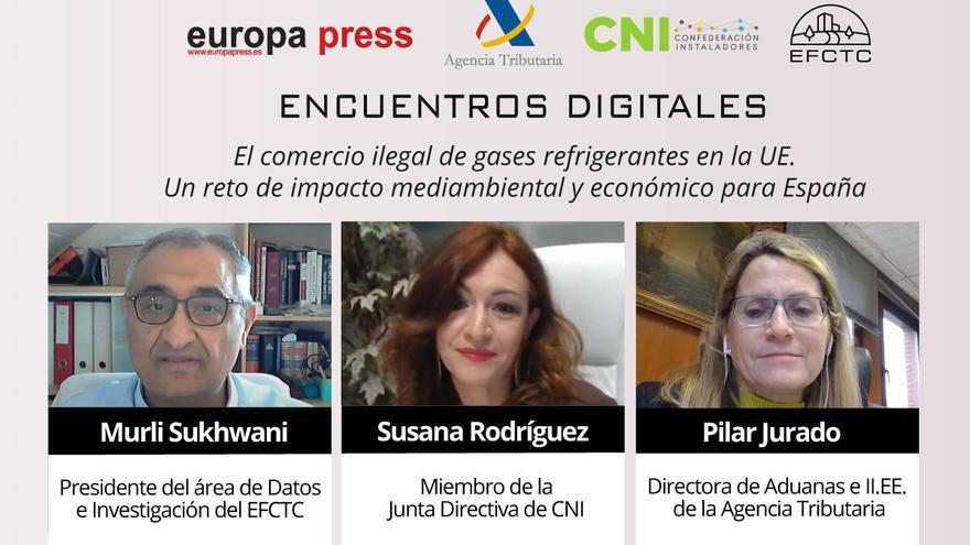 Murli Sukhwani (EFCTC), Susana Rodríguez (CNI) y Pilar Jurado (Departamento de Aduanas de la AEAT) durante su intervención en el Encuentro Digital 'El comercio ilegal de gases refrigerantes en la UE'