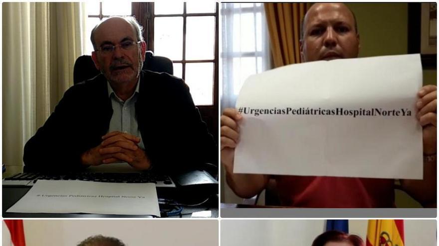 Alcaldes del norte muestran la etiqueta '#UrgenciasPediátricasHospitalNorteYa' dentro de la acción de repulsa