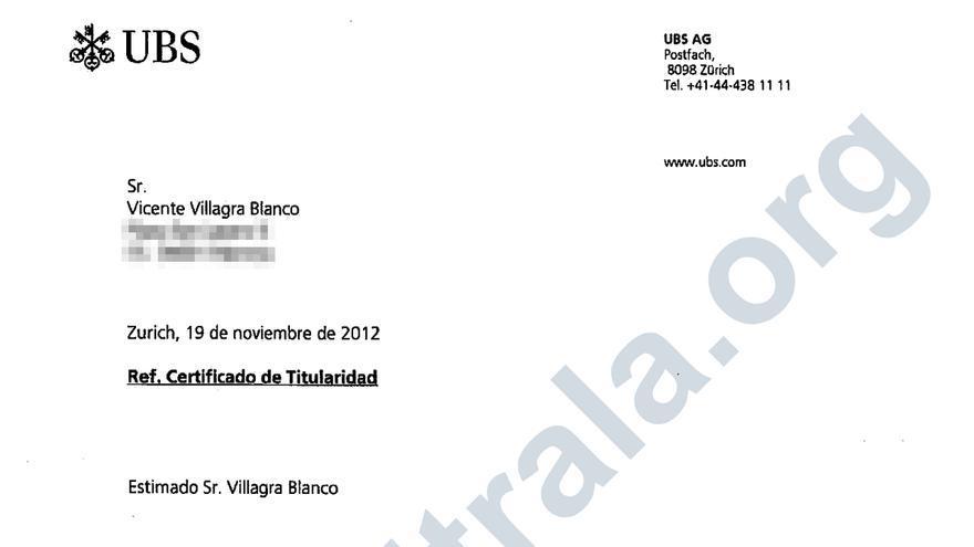 Certificado de titularidad de los dueños de Pipas Facundo de una cuenta opaca en UBS