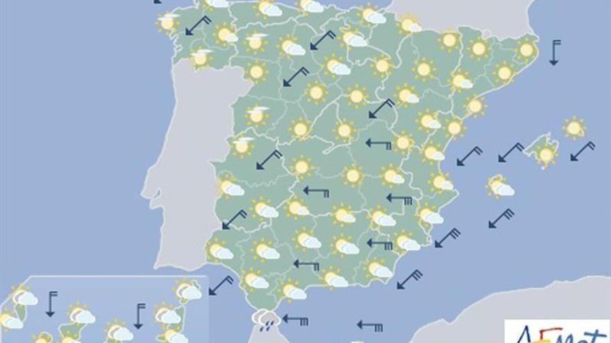 Las lluvias se quedarán hoy en el sur de la Península