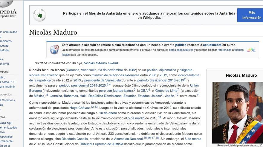 Imagen de la página de Wikipedia de Nicolás Maduro