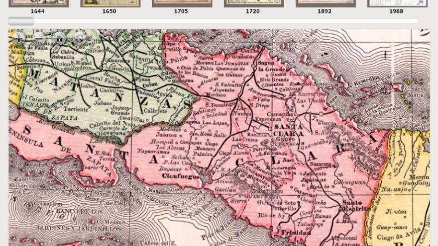 Mapa de la isla de Cuba realizado por Rand McNally en 1892