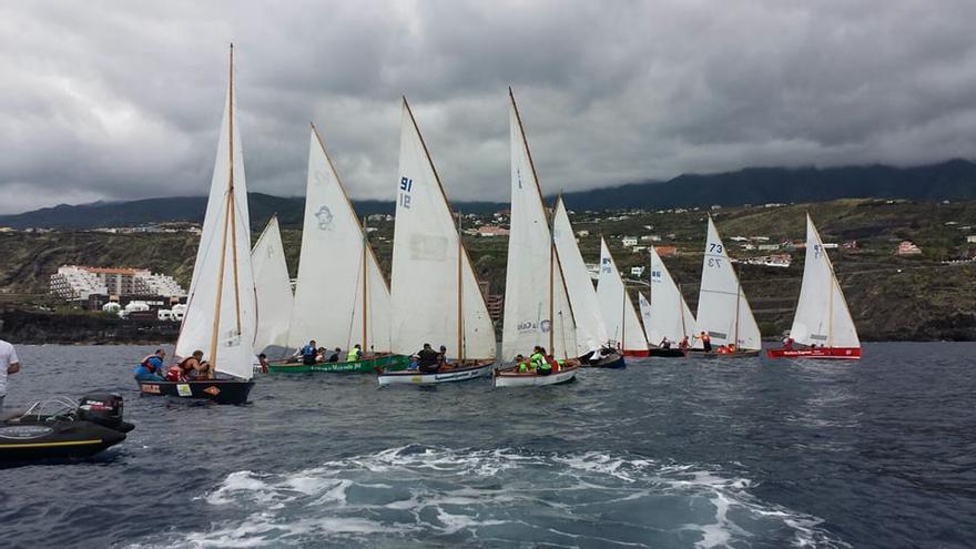 Una regata de vela latina en la bahía de Santa Cruz de La Palma.