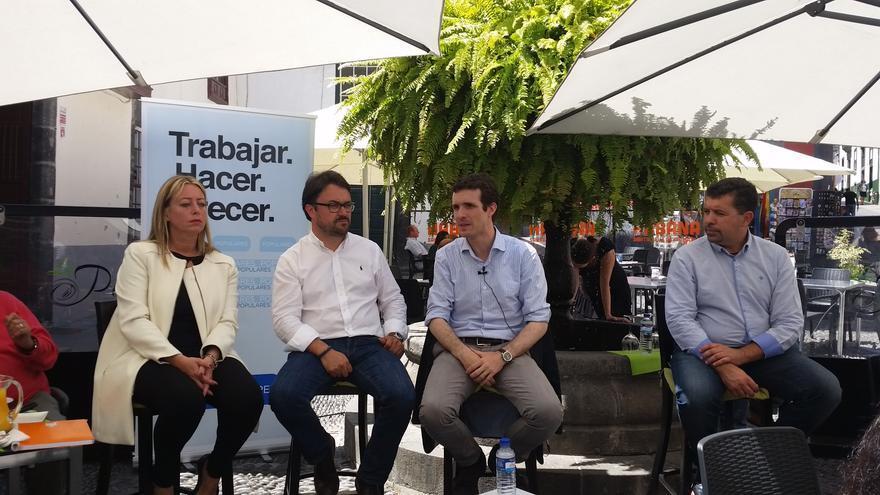 María de Haro, Asier Antona, Pablo Casado y Juan José Cabrera, este miércoles.