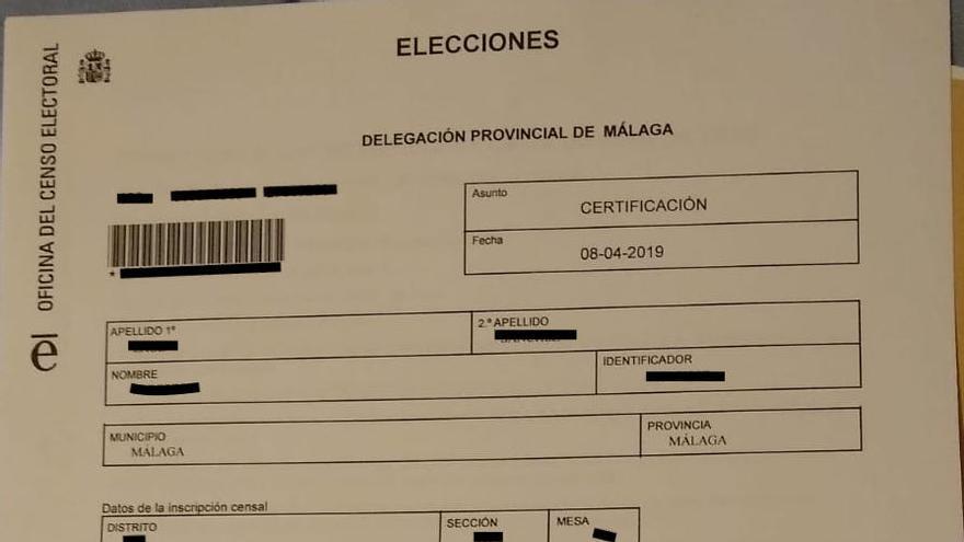 Ejemplo de un Certificado de Inscripción en el Censo Electoral