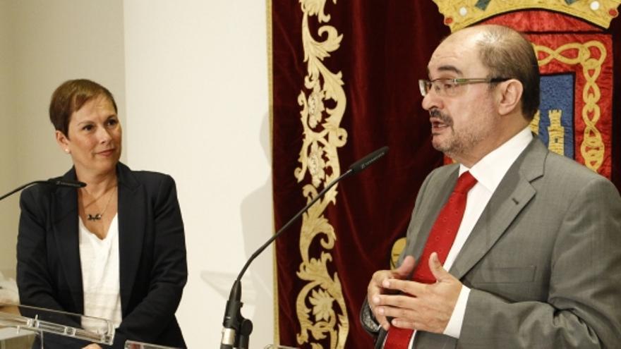 Los presidentes de Navarra y Aragón, Uxue Barkos y Javier Lambán.