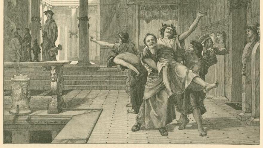 Representación de la festividad romana de Saturnalia en un grabado de 1884