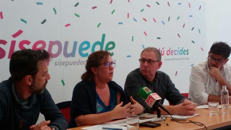 Fidel Vázquez, Paqui Rivero, Fernando Sabaté y Julio Concepción, en la rueda de prensa de este jueves