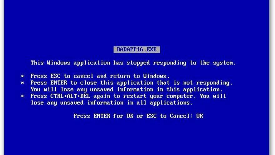 La primera 'pantalla de la muerte' de Windows (Foto: dominio público)
