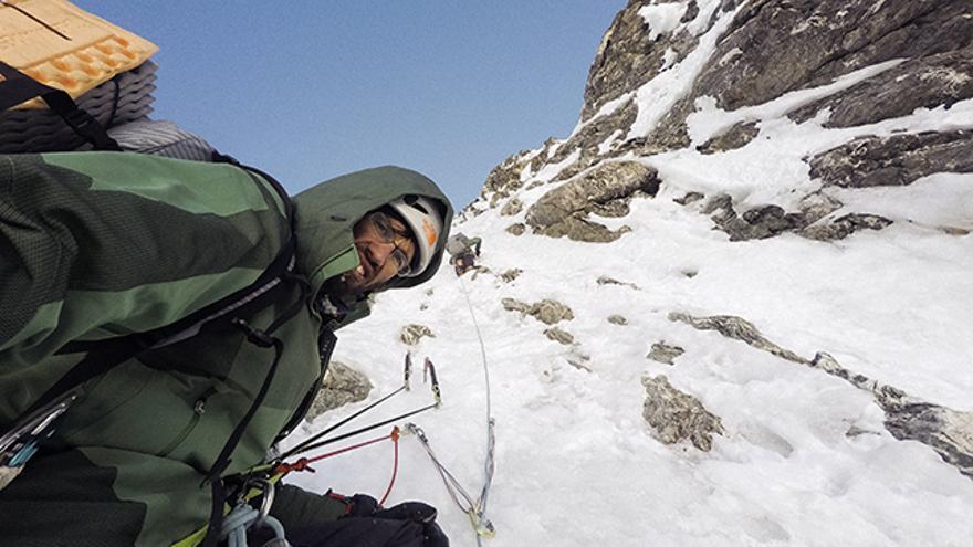 Segundo día de escalada, a unos 6.600 metros, cuando la pared comienza a ganar verticalidad.