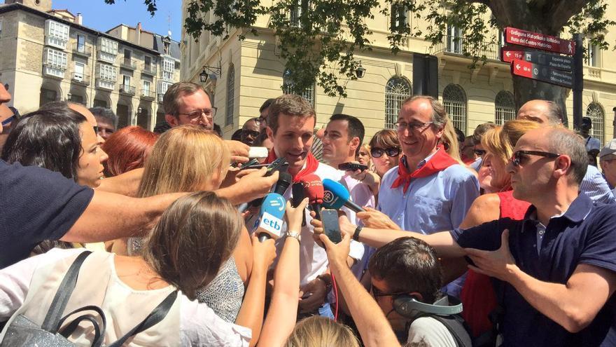 Pablo Casado, durante sus declaraciones en Vitoria