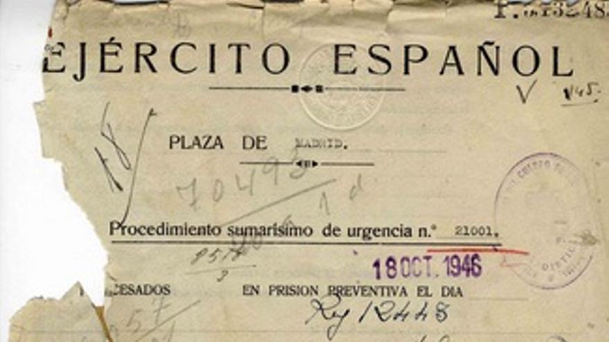 Portada del procedimiento sumarísimo de urgencia contra Miguel Hernández / http://www.portalcultura.mde.es