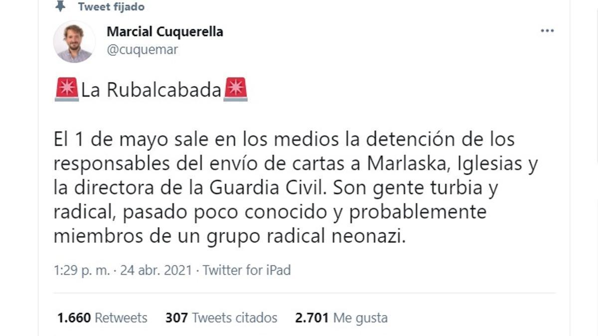 Publicación en Twitter que dio inició a una de las conspiraciones sobre las amenazas de muerte a políticos de izquierda.