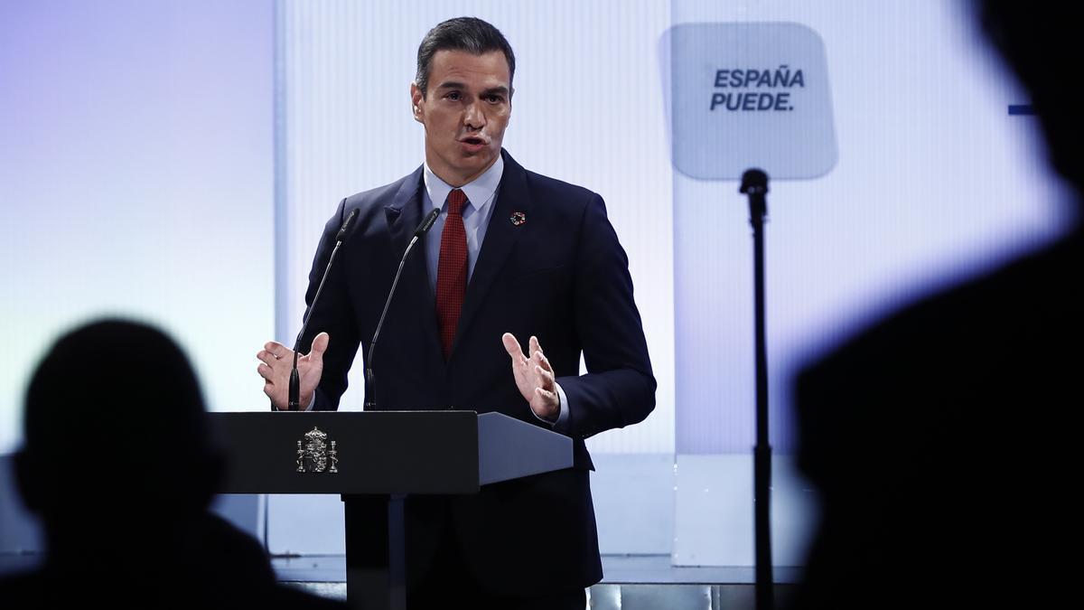 El presidente del Gobierno, Pedro Sánchez, durante la conferencia en la Casa de América. EFE/ Mariscal