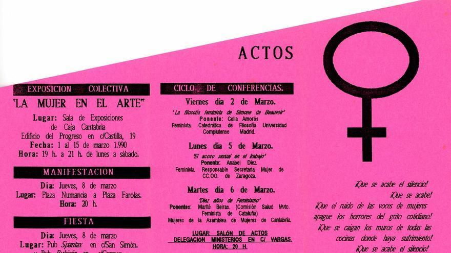 El folleto que la Asamblea de Mujeres de Cantabria publicó con motivo del 8 de marzo en 1990. | DESMEMORIADOS