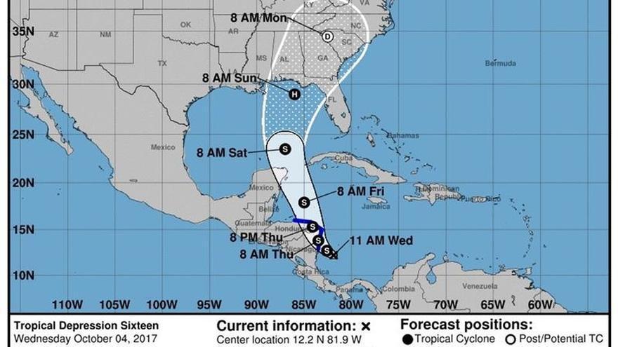 Depresión tropical en el suroeste del Caribe se acerca a Nicaragua y Honduras