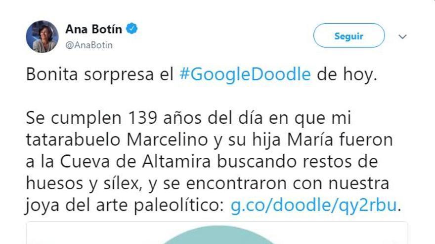 Tuit de Ana Botín celebrando el aniversario del descubrimiento de la Cueva de Altamira por su tatarabuelo.