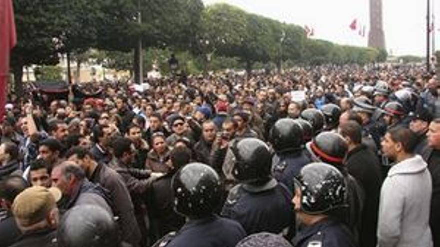 Manifestación de este viernes en la capital. (EP)
