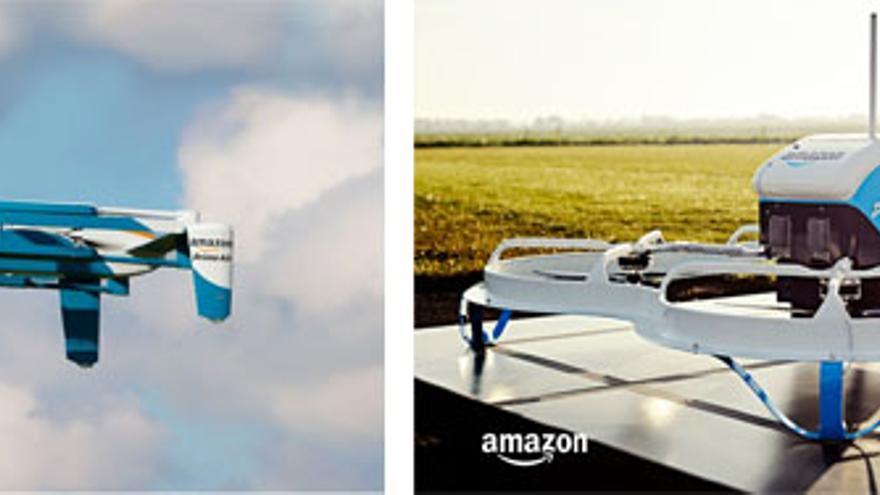 A la izq., el segundo diseño de dron. A la dcha., el que ha presentado en las pruebas públicas