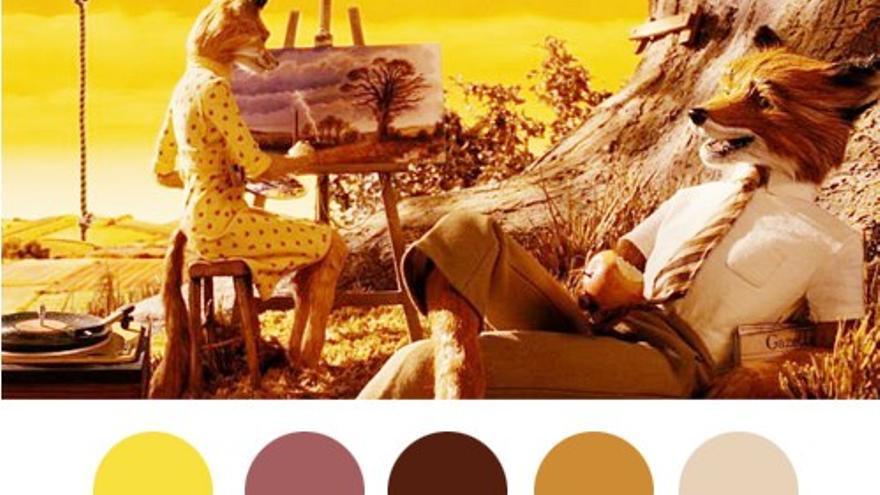 Paleta de colores para Fantástico Mr. Fox del blog Wes Anderson Palettes