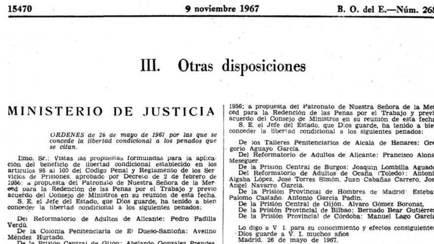 Una de las publicaciones del BOE desindexadas más antiguas, correspondiente a noviembre de 1967.