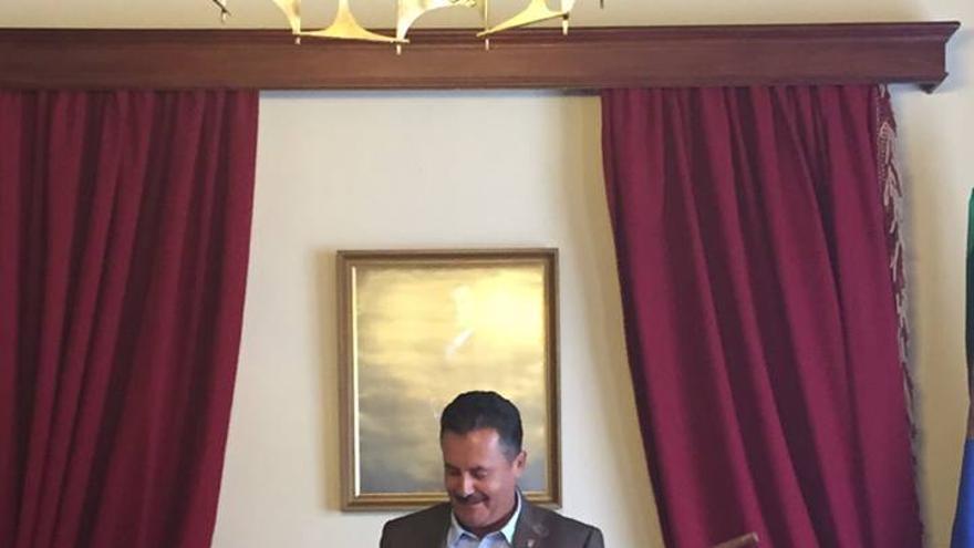 El alcalde de Puntagorda, el socialista Vicente Rodríguez, este sábado. Foto: PSOE