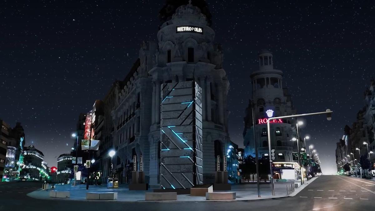 Una de las instalaciones lumínicas que forman parte del vídeo de presentación de LuzMadrid 2021