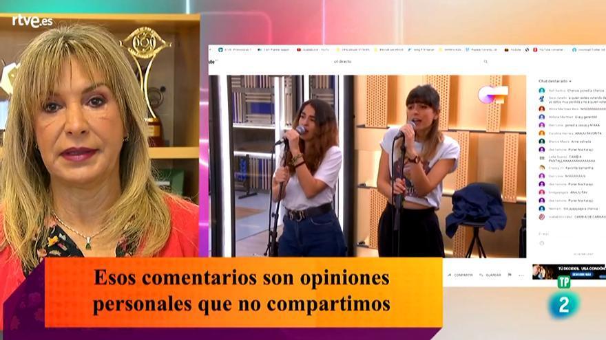 Toñi Prieto, en RTVE Responde durante su respuesta a la polémica de Maialen