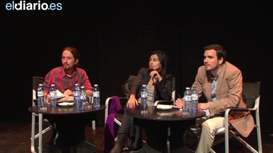 Alberto Garzón y Pablo Iglesias, en un debate en febrero de este año.