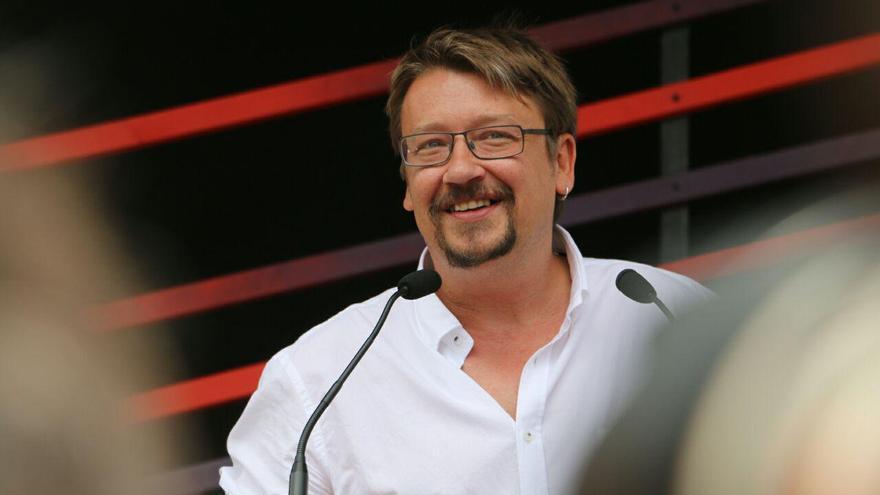 El candidato de En Comú Podem, Xavier Domènech, durante un acto electoral