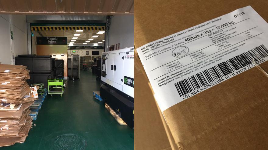 La nave de Mejorada donde se hornean los manolitos de Madrid, junto a las cajas que llegan desde Europastry en Cataluña