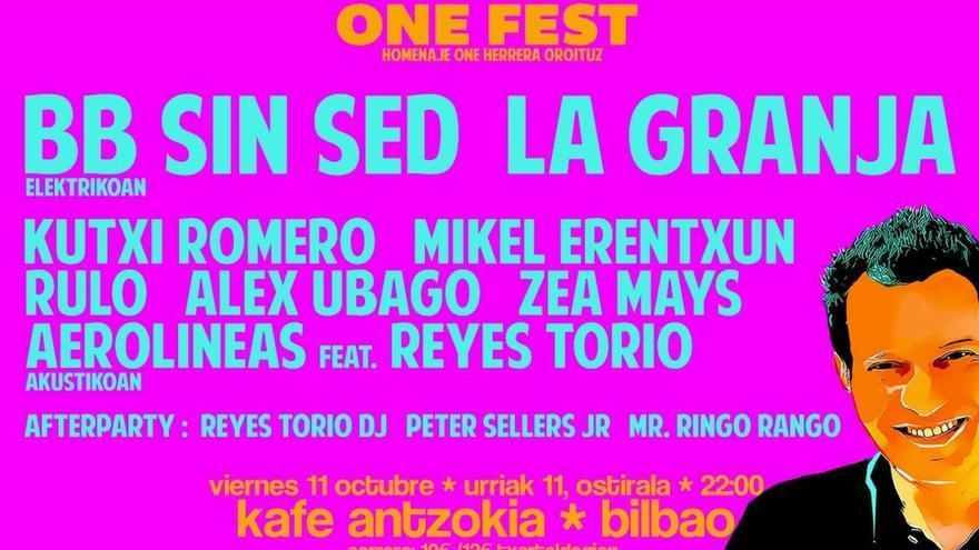 La Granja, BB sin Sed, Rulo, Kutxi Romero, Aerolíneas Federales, Erentxun y Ubago homenajean el 11 a One Herrera