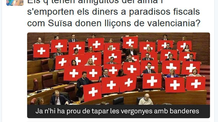 El tuit publicado por el alcalde de Valencia, Joan Ribó